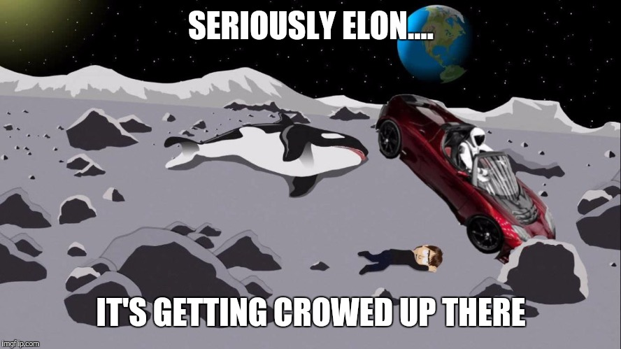 SERIOUSLY ELON.... IT'S GETTING CROWED UP THERE | image tagged in spacex | made w/ Imgflip meme maker