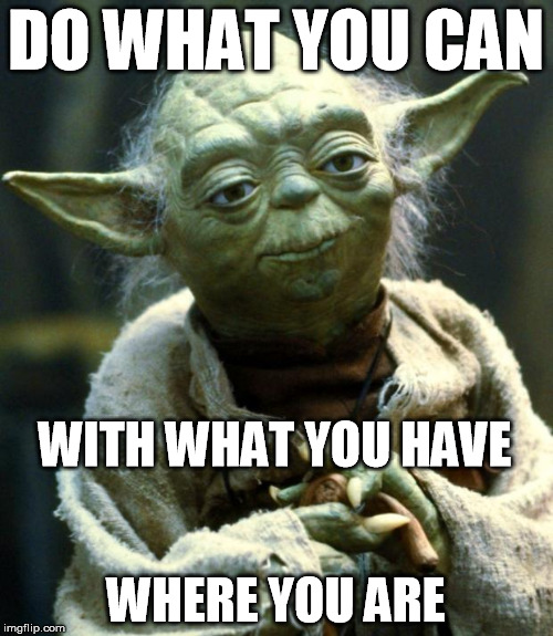 Star Wars Yoda Meme | DO WHAT YOU CAN WHERE YOU ARE WITH WHAT YOU HAVE | image tagged in memes,star wars yoda | made w/ Imgflip meme maker