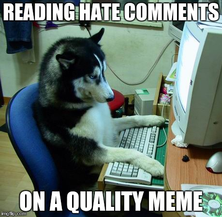 I Have No Idea What I Am Doing Meme | READING HATE COMMENTS ON A QUALITY MEME | image tagged in memes,i have no idea what i am doing | made w/ Imgflip meme maker