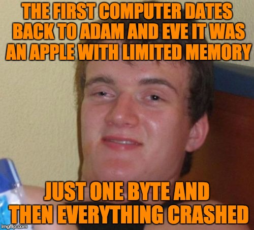 Just One | THE FIRST COMPUTER DATES BACK TO ADAM AND EVE IT WAS AN APPLE WITH LIMITED MEMORY JUST ONE BYTE AND THEN EVERYTHING CRASHED | image tagged in memes,10 guy,funny,adam and eve,apple,computer | made w/ Imgflip meme maker