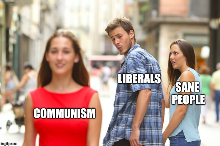 Equality of outcome always leads to totalitarianism. | COMMUNISM LIBERALS SANE PEOPLE | image tagged in memes,distracted boyfriend,communism,liberals | made w/ Imgflip meme maker