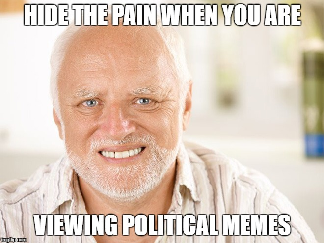 when you are looking at memes, do this... | HIDE THE PAIN WHEN YOU ARE VIEWING POLITICAL MEMES | image tagged in hide the pain harold,political meme,bad luck harold,politics,depression sadness hurt pain anxiety | made w/ Imgflip meme maker