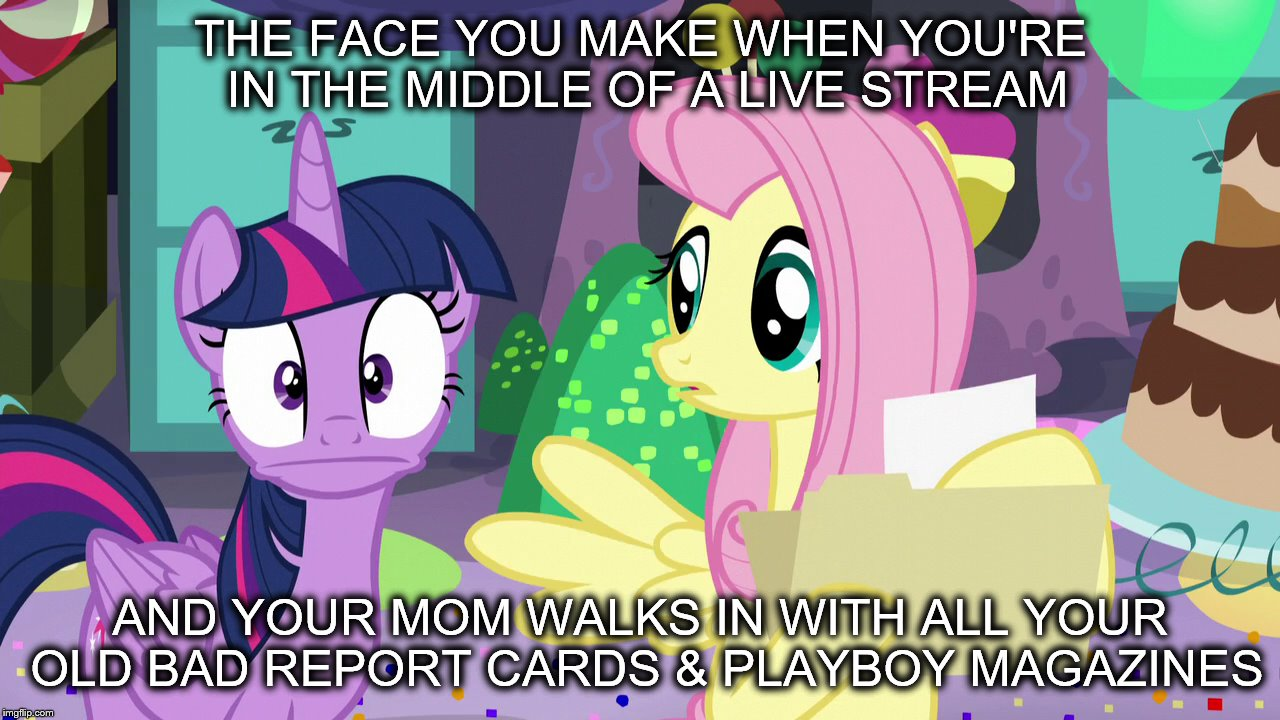 MLP Meme | THE FACE YOU MAKE WHEN YOU'RE IN THE MIDDLE OF A LIVE STREAM AND YOUR MOM WALKS IN WITH ALL YOUR OLD BAD REPORT CARDS & PLAYBOY MAGAZINES | image tagged in twilight sparkle,fluttershy,my little pony | made w/ Imgflip meme maker