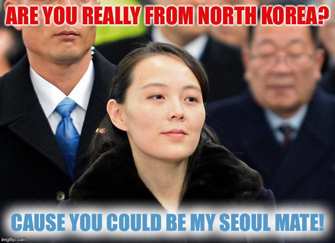 Dam yo blanket, I saw sum deer today... I asked my friend how are things in North Korea, he said he couldn't complain... | ARE YOU REALLY FROM NORTH KOREA? CAUSE YOU COULD BE MY SEOUL MATE! | image tagged in memes,kim yo jong,north korea,olympics,seoul,korean puns | made w/ Imgflip meme maker