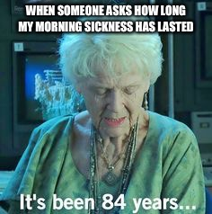 WHEN SOMEONE ASKS HOW LONG MY MORNING SICKNESS HAS LASTED | image tagged in titanic 84 years | made w/ Imgflip meme maker