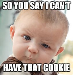 Skeptical Baby Meme | SO YOU SAY I CAN'T HAVE THAT COOKIE | image tagged in memes,skeptical baby | made w/ Imgflip meme maker