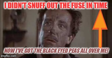 I DIDN'T SNUFF OUT THE FUSE IN TIME NOW I'VE GOT THE BLACK EYED PEAS ALL OVER ME! | made w/ Imgflip meme maker