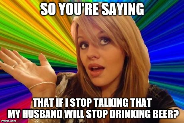 SO YOU'RE SAYING THAT IF I STOP TALKING THAT MY HUSBAND WILL STOP DRINKING BEER? | made w/ Imgflip meme maker