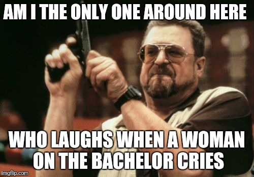 Am I The Only One Around Here Meme | AM I THE ONLY ONE AROUND HERE WHO LAUGHS WHEN A WOMAN ON THE BACHELOR CRIES | image tagged in memes,am i the only one around here | made w/ Imgflip meme maker