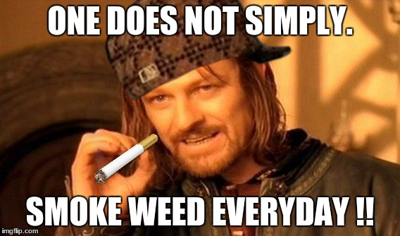 One Does Not Simply Meme | ONE DOES NOT SIMPLY. SMOKE WEED EVERYDAY !! | image tagged in memes,one does not simply,scumbag | made w/ Imgflip meme maker