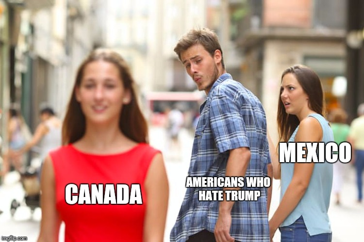 That's the Problem | AMERICANS WHO HATE TRUMP CANADA MEXICO | image tagged in memes,distracted boyfriend,canada | made w/ Imgflip meme maker