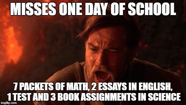 You Were The Chosen One (Star Wars) Meme | MISSES ONE DAY OF SCHOOL 7 PACKETS OF MATH, 2 ESSAYS IN ENGLISH, 1 TEST AND 3 BOOK ASSIGNMENTS IN SCIENCE | image tagged in memes,you were the chosen one star wars | made w/ Imgflip meme maker