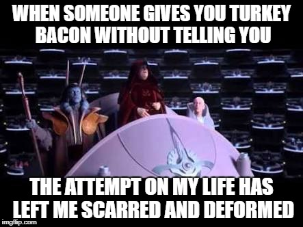 WHEN SOMEONE GIVES YOU TURKEY BACON WITHOUT TELLING YOU THE ATTEMPT ON MY LIFE HAS LEFT ME SCARRED AND DEFORMED | image tagged in palpatine | made w/ Imgflip meme maker