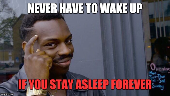 Roll Safe Think About It Meme | NEVER HAVE TO WAKE UP IF YOU STAY ASLEEP FOREVER | image tagged in memes,roll safe think about it | made w/ Imgflip meme maker