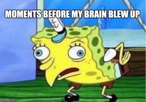Mocking Spongebob Meme | MOMENTS BEFORE MY BRAIN BLEW UP | image tagged in memes,mocking spongebob | made w/ Imgflip meme maker