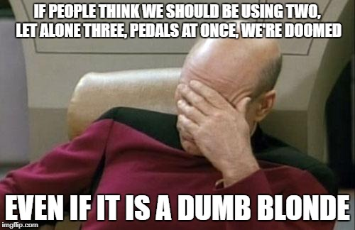 Captain Picard Facepalm Meme | IF PEOPLE THINK WE SHOULD BE USING TWO, LET ALONE THREE, PEDALS AT ONCE, WE'RE DOOMED EVEN IF IT IS A DUMB BLONDE | image tagged in memes,captain picard facepalm | made w/ Imgflip meme maker