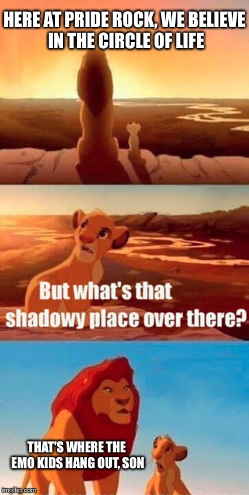 Simba Shadowy Place Meme | HERE AT PRIDE ROCK, WE BELIEVE IN THE CIRCLE OF LIFE THAT'S WHERE THE EMO KIDS HANG OUT, SON | image tagged in memes,simba shadowy place | made w/ Imgflip meme maker