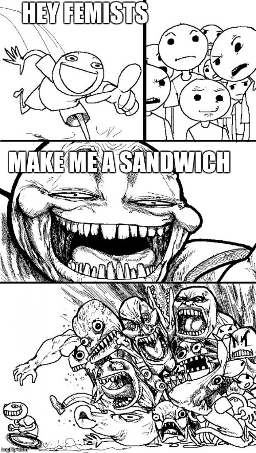 hey feminists | HEY FEMISTS MAKE ME A SANDWICH | image tagged in memes,hey internet | made w/ Imgflip meme maker