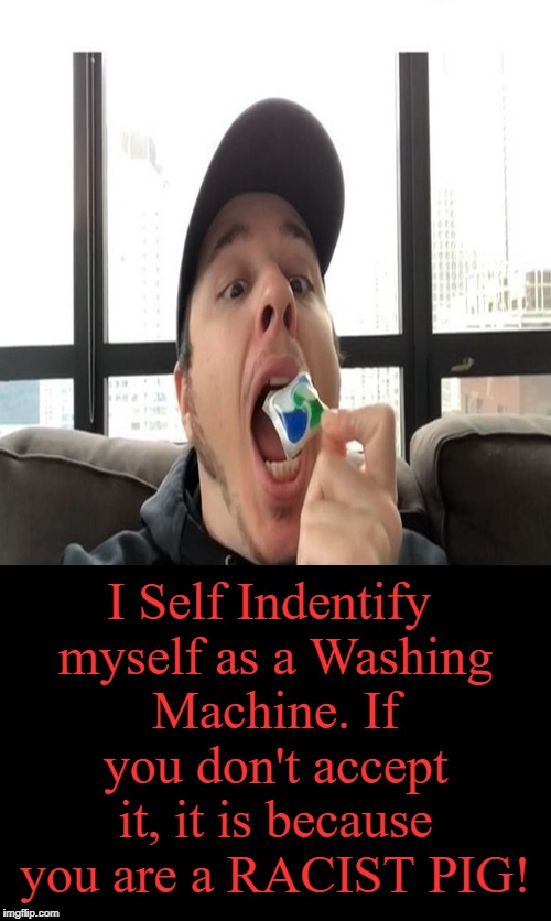 We need to be more tolerant, folks! *Sarcasm*  | I Self Indentify myself as a Washing Machine. If you don't accept it, it is because you are a RACIST PIG! | image tagged in tide pods,tide pod challenge,tide pod,memes | made w/ Imgflip meme maker