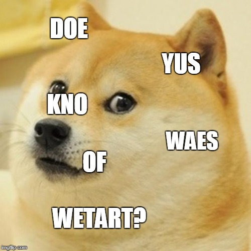 Doge Meme | DOE YUS KNO WAES OF WETART? | image tagged in memes,doge | made w/ Imgflip meme maker