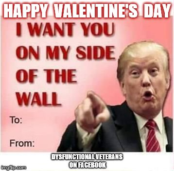 Happy Valentine's Day from Donald Trump | HAPPY  VALENTINE'S  DAY DYSFUNCTIONAL VETERANS ON FACEBOOK | image tagged in trump wall valentine,donald trump,happy valentine's day,build the wall | made w/ Imgflip meme maker