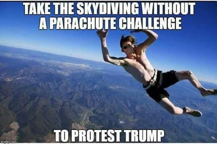 A new challenge for you to protest Trump | . | image tagged in protesters,tide pod challenge | made w/ Imgflip meme maker