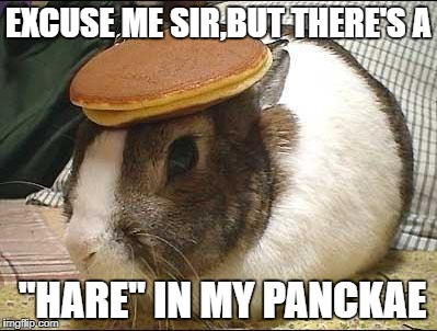 "EXCUSE ME SIR,BUT THERE'S A; ""HARE"" IN MY PANCKAE 