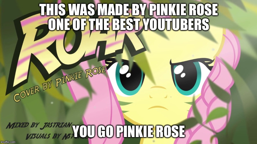 THIS WAS MADE BY PINKIE ROSE ONE OF THE BEST YOUTUBERS; YOU GO PINKIE ROSE | image tagged in fluttershy,roar | made w/ Imgflip meme maker