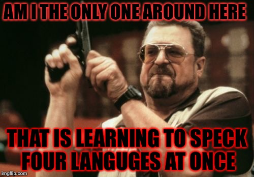 Am I The Only One Around Here Meme | AM I THE ONLY ONE AROUND HERE THAT IS LEARNING TO SPECK FOUR LANGUGES AT ONCE | image tagged in memes,am i the only one around here,meme,language,german,french | made w/ Imgflip meme maker