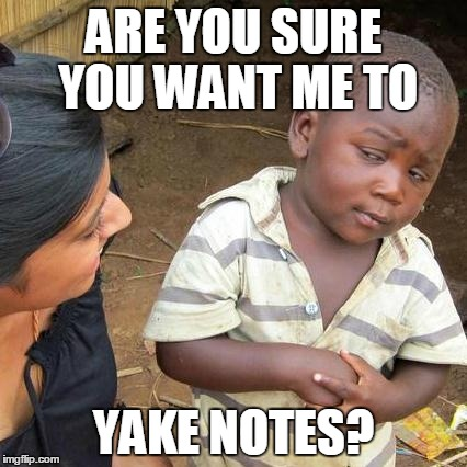 Third World Skeptical Kid Meme | ARE YOU SURE YOU WANT ME TO YAKE NOTES? | image tagged in memes,third world skeptical kid | made w/ Imgflip meme maker