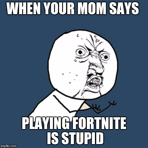 Y U No Meme | WHEN YOUR MOM SAYS PLAYING FORTNITE IS STUPID | image tagged in memes,y u no | made w/ Imgflip meme maker