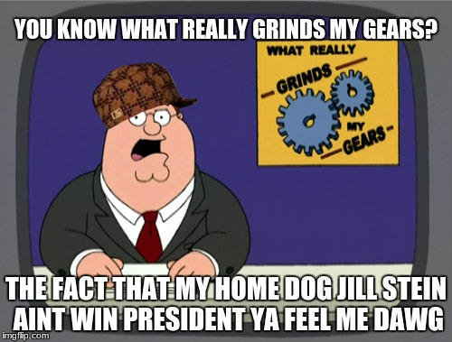 Not even a vote state won smh | YOU KNOW WHAT REALLY GRINDS MY GEARS? THE FACT THAT MY HOME DOG JILL STEIN AINT WIN PRESIDENT YA FEEL ME DAWG | image tagged in meme,scumbag,family guy,politics,jill stein | made w/ Imgflip meme maker
