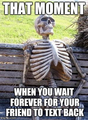 Waiting Skeleton Meme | THAT MOMENT WHEN YOU WAIT FOREVER FOR YOUR FRIEND TO TEXT BACK | image tagged in memes,waiting skeleton | made w/ Imgflip meme maker