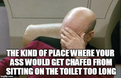 Captain Picard Facepalm Meme | THE KIND OF PLACE WHERE YOUR ASS WOULD GET CHAFED FROM SITTING ON THE TOILET TOO LONG | image tagged in memes,captain picard facepalm | made w/ Imgflip meme maker