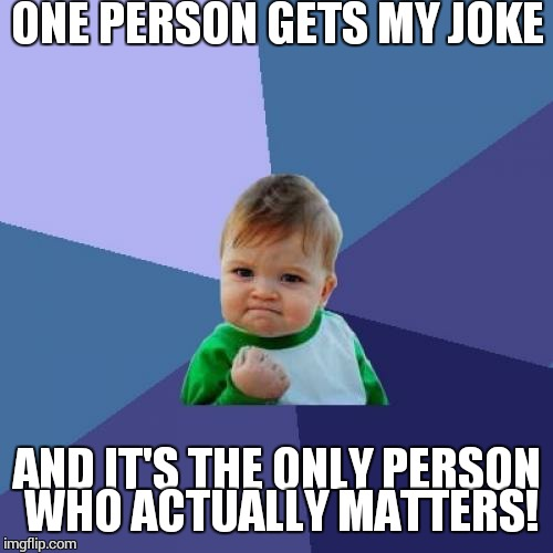 Success Kid Meme | ONE PERSON GETS MY JOKE AND IT'S THE ONLY PERSON WHO ACTUALLY MATTERS! | image tagged in memes,success kid | made w/ Imgflip meme maker