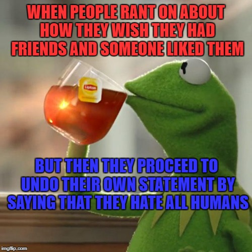 But Thats None Of My Business Meme | WHEN PEOPLE RANT ON ABOUT HOW THEY WISH THEY HAD FRIENDS AND SOMEONE LIKED THEM BUT THEN THEY PROCEED TO UNDO THEIR OWN STATEMENT BY SAYING  | image tagged in memes,but thats none of my business,kermit the frog | made w/ Imgflip meme maker