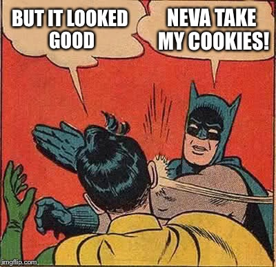 Batman Slapping Robin Meme | BUT IT LOOKED GOOD NEVA TAKE MY COOKIES! | image tagged in memes,batman slapping robin | made w/ Imgflip meme maker