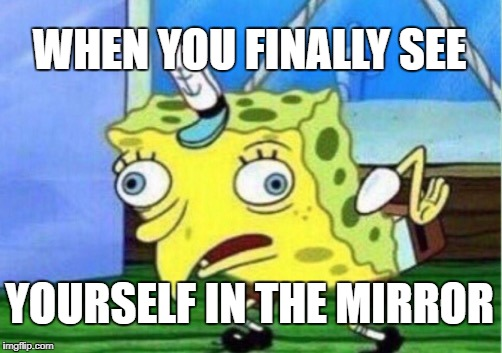 Mocking Spongebob Meme | WHEN YOU FINALLY SEE YOURSELF IN THE MIRROR | image tagged in memes,mocking spongebob | made w/ Imgflip meme maker