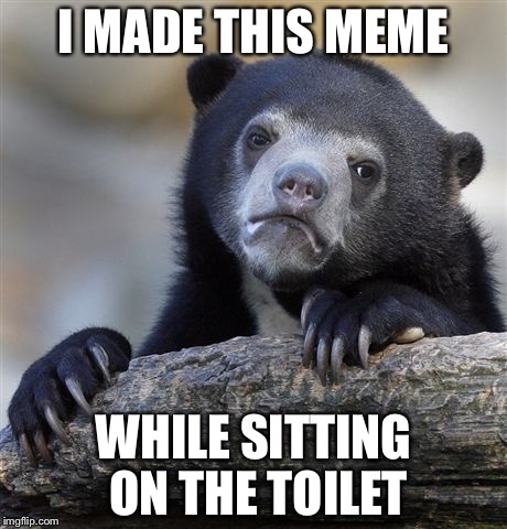 Confession Bear Meme | I MADE THIS MEME WHILE SITTING ON THE TOILET | image tagged in memes,confession bear | made w/ Imgflip meme maker