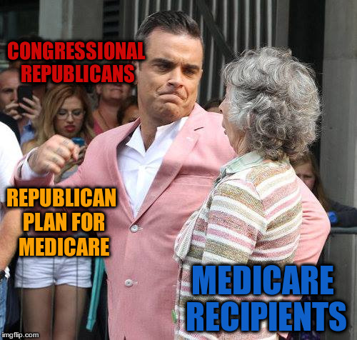 CONGRESSIONAL REPUBLICANS MEDICARE RECIPIENTS REPUBLICAN PLAN FOR MEDICARE | image tagged in man punching grandmother in face,republican,plan,medicare,grandmother,punch | made w/ Imgflip meme maker