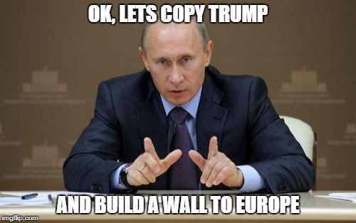 Vladimir Putin | OK, LETS COPY TRUMP AND BUILD A WALL TO EUROPE | image tagged in memes,vladimir putin | made w/ Imgflip meme maker