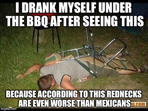 I DRANK MYSELF UNDER THE BBQ AFTER SEEING THIS BECAUSE ACCORDING TO THIS REDNECKS ARE EVEN WORSE THAN MEXICANS | made w/ Imgflip meme maker