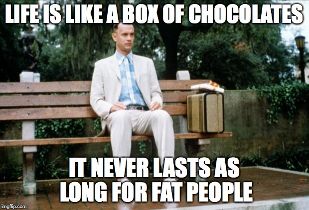 Forrest Gump | LIFE IS LIKE A BOX OF CHOCOLATES IT NEVER LASTS AS LONG FOR FAT PEOPLE | image tagged in forrest gump | made w/ Imgflip meme maker