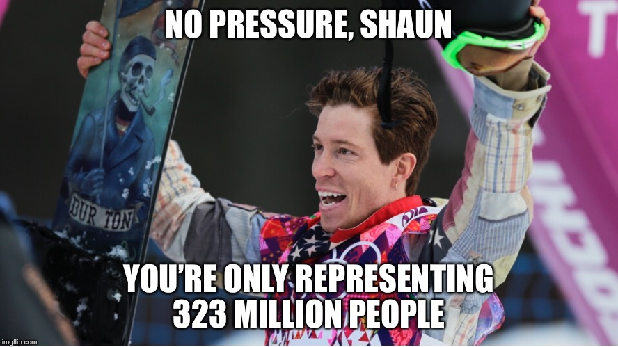 Shaun White - Team USA - Winter Olympics 2018 | NO PRESSURE, SHAUN YOU'RE ONLY REPRESENTING 323 MILLION PEOPLE | image tagged in winter,olympics,2018,south korea,united states | made w/ Imgflip meme maker