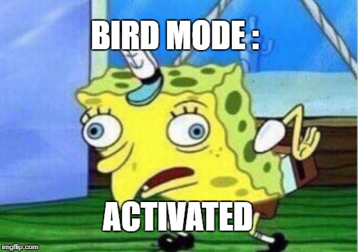 Mocking Spongebob Meme | BIRD MODE : ACTIVATED | image tagged in memes,mocking spongebob | made w/ Imgflip meme maker