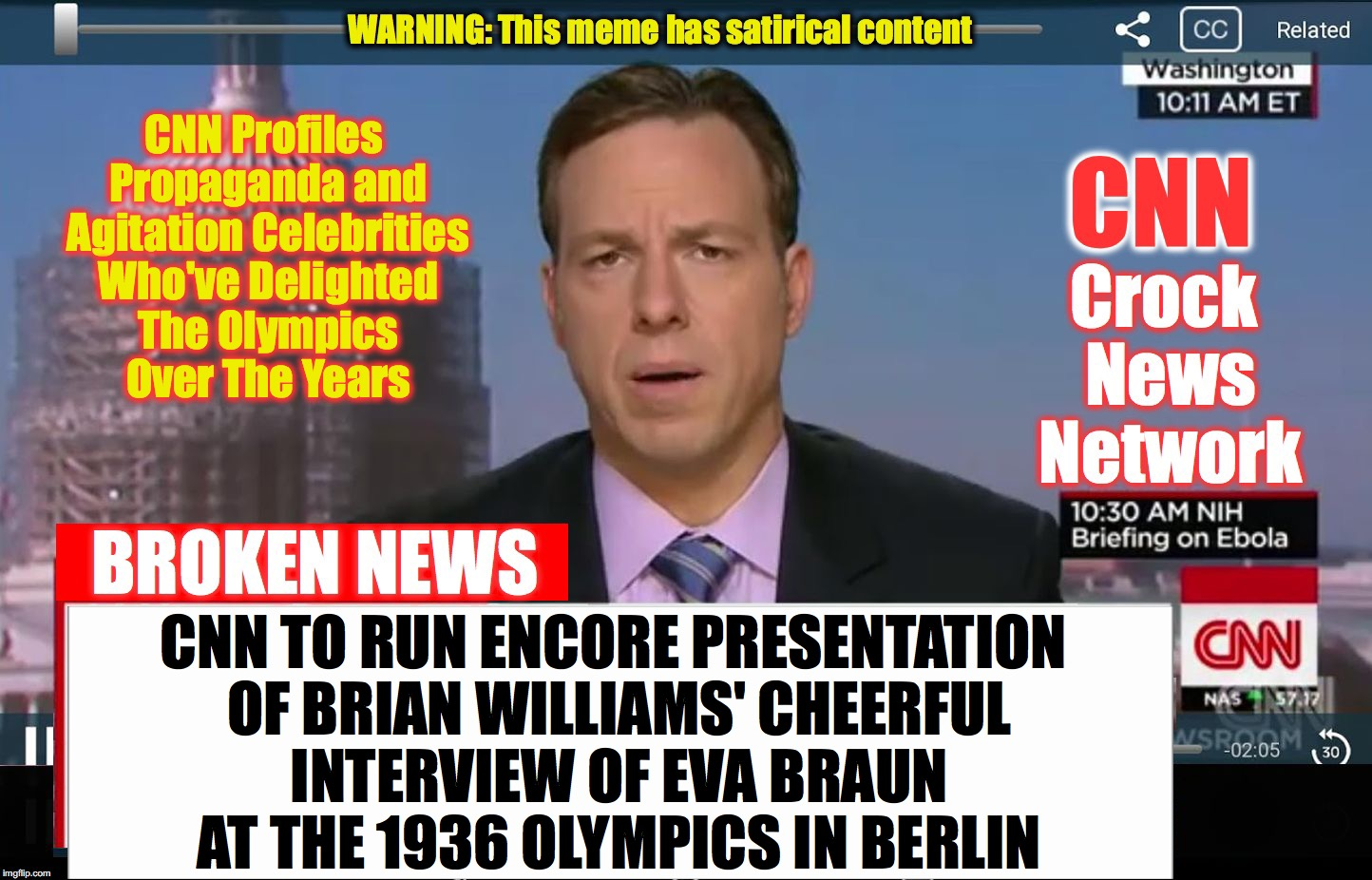 hey, they might as well 'go there' now... | CNN Profiles Propaganda and Agitation Celebrities Who've Delighted The Olympics Over The Years CNN TO RUN ENCORE PRESENTATION OF BRIAN WILLI | image tagged in cnn crock news network | made w/ Imgflip meme maker