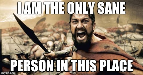 Sparta Leonidas | I AM THE ONLY SANE PERSON IN THIS PLACE | image tagged in memes,sparta leonidas | made w/ Imgflip meme maker