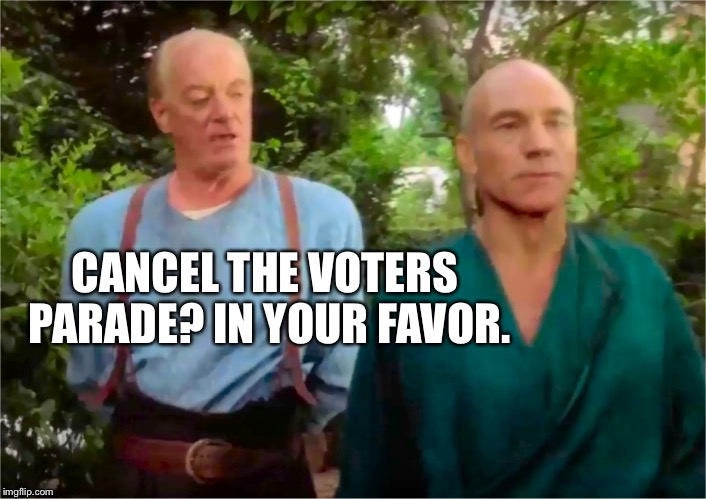 Walking around the streets with Daca in your arms raised in victory | CANCEL THE VOTERS PARADE? IN YOUR FAVOR. | image tagged in picards parade,daca shmacka,chaka the wrath of khan,cool to the image submitter,meme you | made w/ Imgflip meme maker