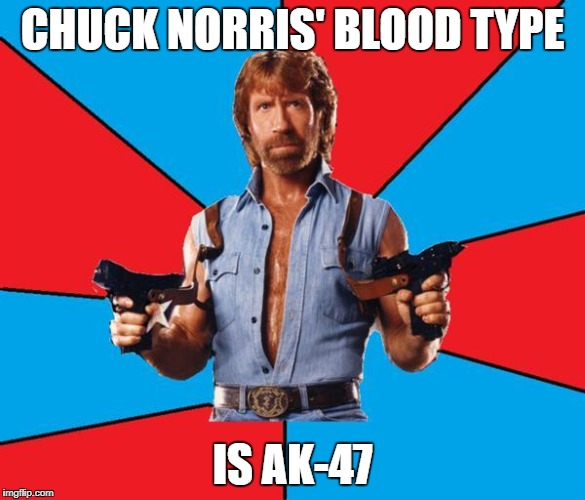 CHUCK NORRIS' BLOOD TYPE IS AK-47 | made w/ Imgflip meme maker