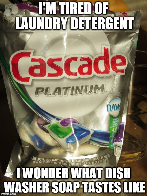 Yet another... cascade pod meme? | I'M TIRED OF LAUNDRY DETERGENT I WONDER WHAT DISH WASHER SOAP TASTES LIKE | image tagged in cascade platinum,tide pods,memes,cascade,soap,dishwasher | made w/ Imgflip meme maker